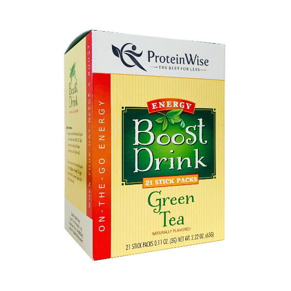 ProteinWise - Green Tea Energy Boost Drinks - 21 Stick Packs