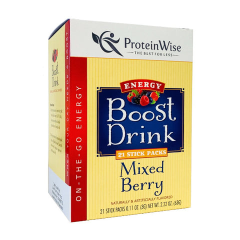 ProteinWise - Mixed Berry Energy Boost Drinks - 21 Stick Packs
