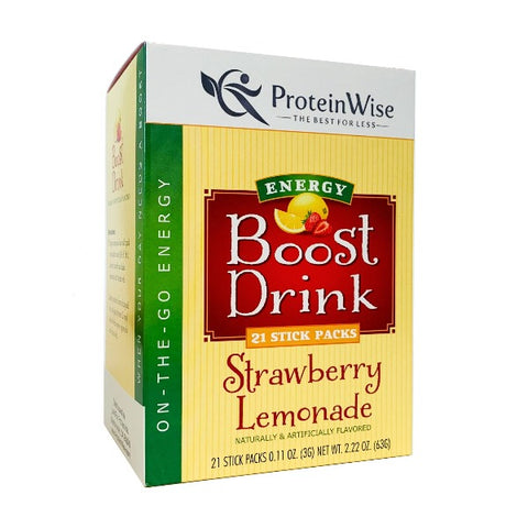 ProteinWise - Strawberry Lemonade Energy Boost Drinks - 21 Stick Packs