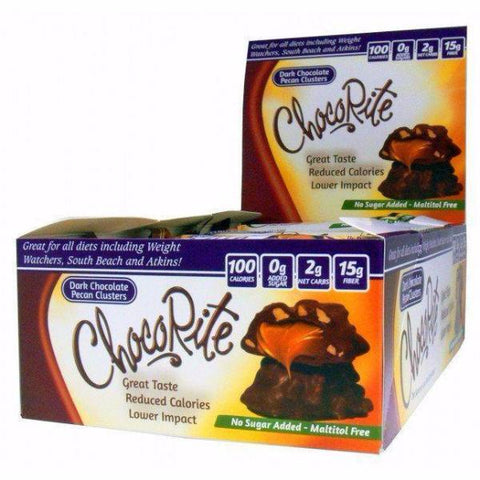 Snacks - HealthSmart ChocoRite Dark Chocolate Pecan Clusters - 16 Bars - ProteinWise