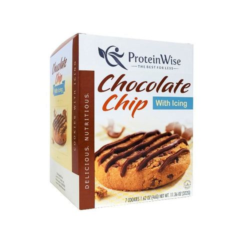 ProteinWise - Chocolate Chip High Protein Cookies w/Icing - 7/Box