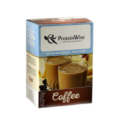 Meal Replacements - ProteinWise - Coffee Meal Repalacement Shake/Pudding - 100 Calorie - 7/Box - ProteinWise