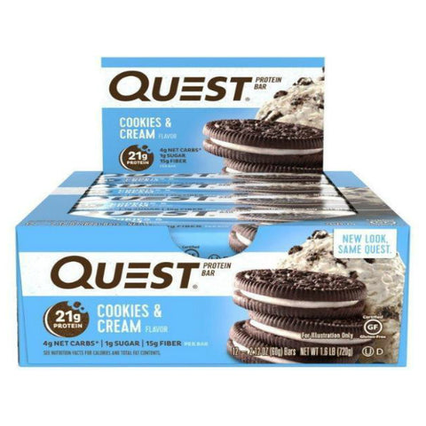 Protein Bars - Quest High Protein Bars - Cookies & Cream - 12 Bars - ProteinWise