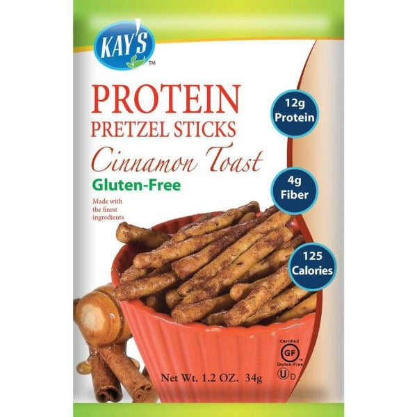 Kay's Naturals Protein Pretzel Sticks - Cinnamon Toast - 1.2-oz Bags (Pack of 6)
