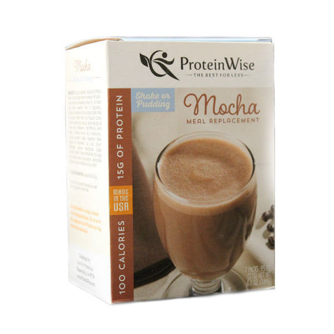 Meal Replacements - ProteinWise - Mocha Meal Replacement Shake/Pudding-100 Calorie - 7/Box - ProteinWise