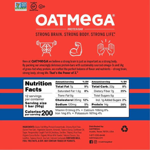 Oatmega Grass-Fed Protein Bars - Blueberry - 12 Bars