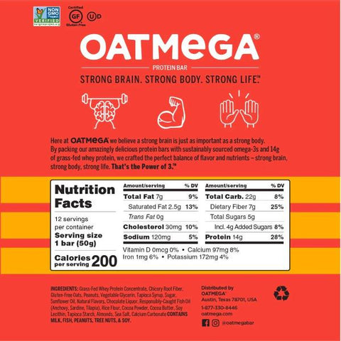 Oatmega Grass-Fed Protein Bars - Chocolate Peanut - 12 Bars