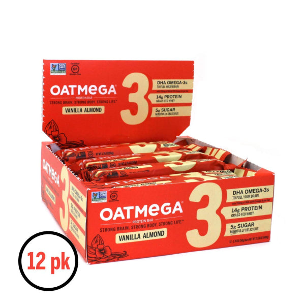 Oatmega Grass-Fed Protein Bars - Vanilla Almond - 12 Bars