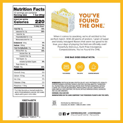 ONE Protein Bar - Lemon Cake - 12 Bars
