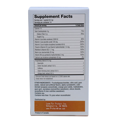 Supplements - ProteinWise - BioFix Thermogenic Antioxidant Energy Drink Mix - Natural Orange - 14/Box - ProteinWise