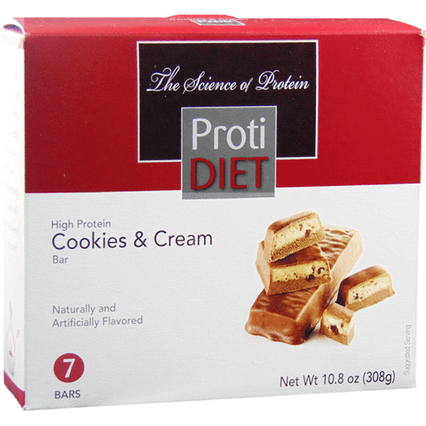 Protein Bars - ProtiDiet - Cookies & Cream Bar - 7/Box - ProteinWise