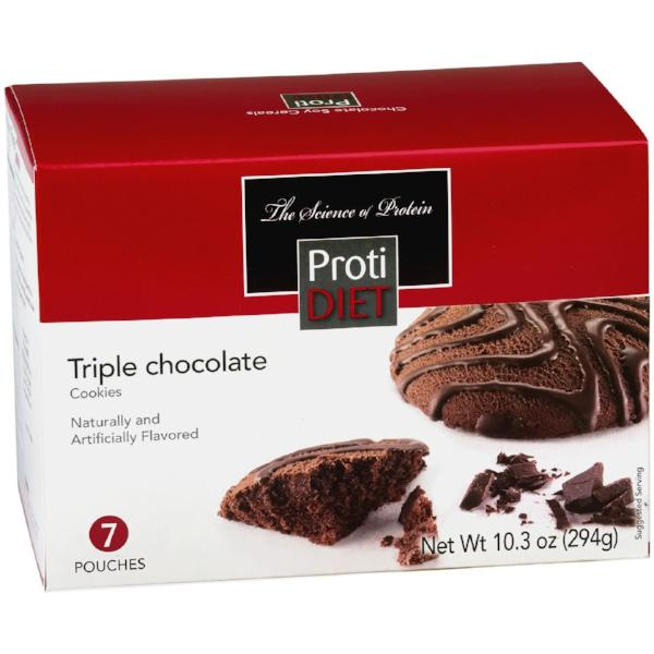 Snacks - ProtiDiet - Protein Triple Chocolate Cookies - 7/Box - ProteinWise