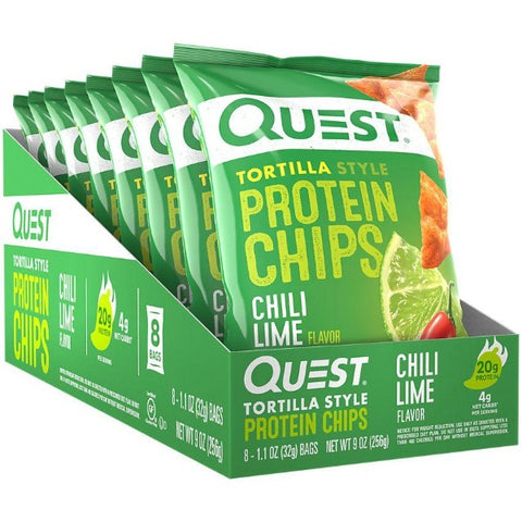 Quest Protein Tortilla Chips - Chili Lime - 8 Bags