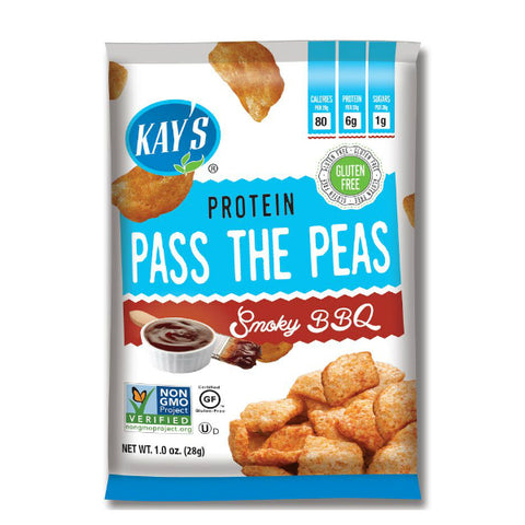 Snacks - Kay's Naturals - Pass The Peas - Smoky BBQ - 1-oz Bags (Pack of 6) - ProteinWise