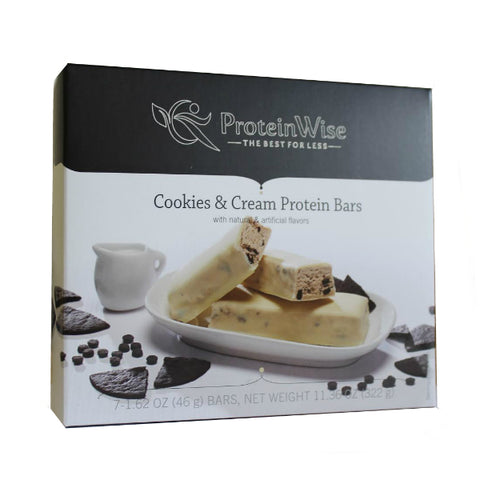Protein Bars - ProteinWise - Cookies & Cream Protein Bars - 7/Box - ProteinWise