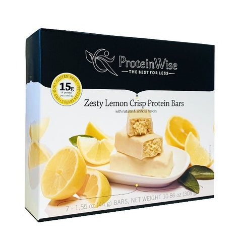 ProteinWise - Zesty Lemon Crisp Low Carb Protein Bar - 7 Bars
