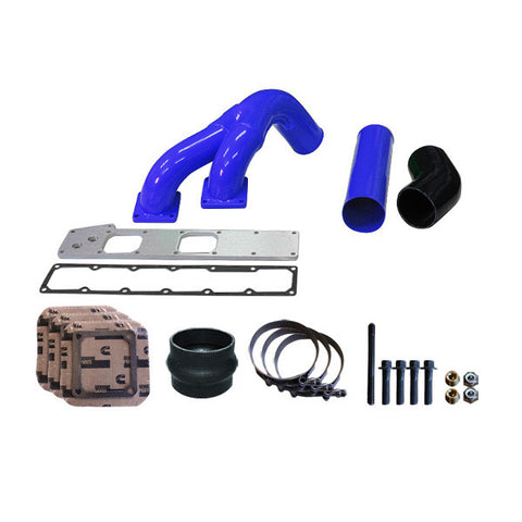 "Pusher 3.5"" MEGA Twin Intake System 1994 - 1998 Dodge Cummins 12v   (Blue)"