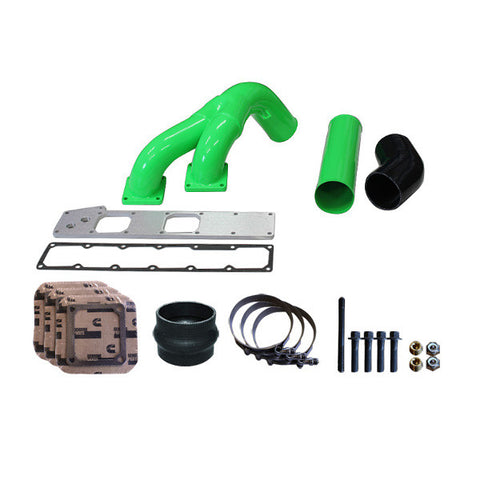 "Pusher 3.5"" MEGA Twin Intake System 1994 - 1998 Dodge Cummins 12v   (Green)"