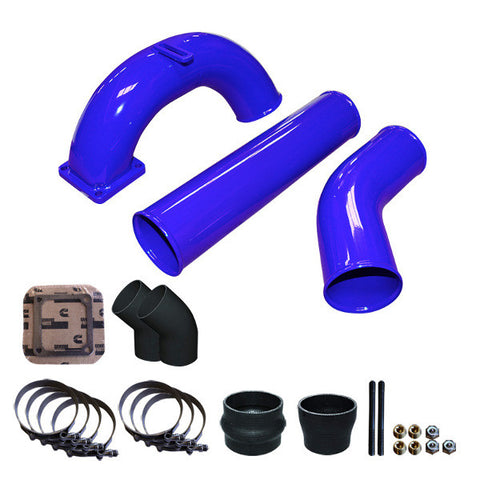 "Pusher 3.5"" MEGA Intake System 3.5""   Intercooler Tubes 1998.5 - 2002 5.9 Dodge Cummins  (Blue)"