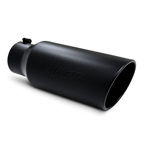 MBRP BLACK ANGLE CUT ROLLED  TIP  4 INCH INLET  8 INCH OUTLET  18 INCH LONG  T5128BLK