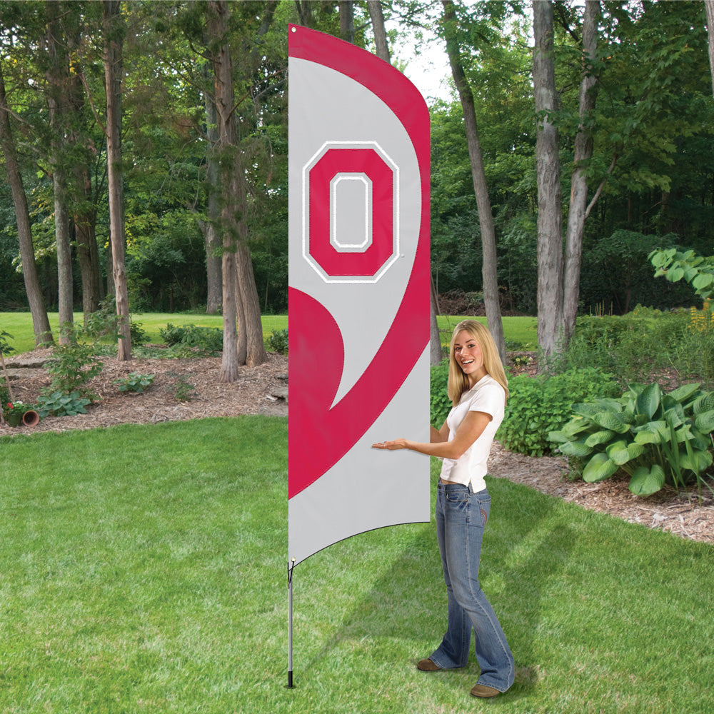 Ohio State Tall Team Flag Kit with Pole