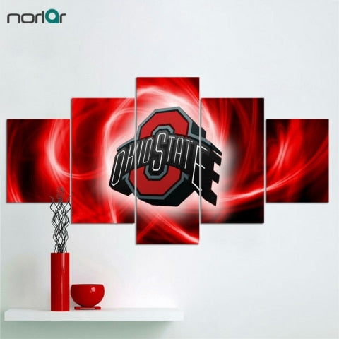 A 5 Pcs HD Print Canvas Painting Ohio State Buckeyes Logo Modern Home Wall Decor Painting Canvas Art Wall Picture For Home Decor