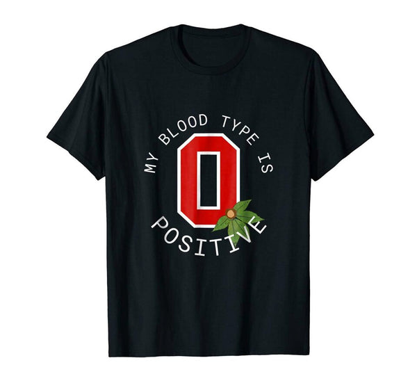 My Blood Type Is Positive With State Of Ohio Black T-Shirt For Fans Men Clothes Tee Shirt