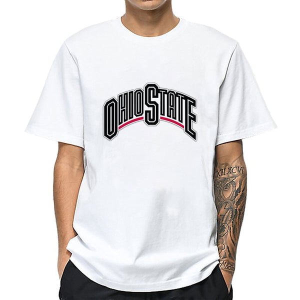 MOUNTSHARP For Ohio State Buckeyes Men Funny T Shirt Homme Male Simple Clothes Streetwear Sweatshirt Tops Short Sleeve