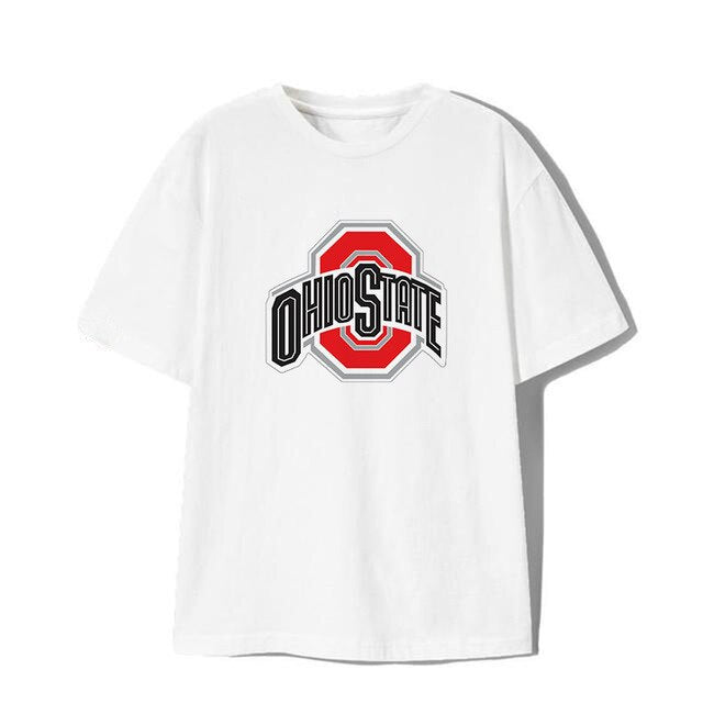 MOUNTSHARP Men/Women Funny T Shirt Streetwear Cotton Harajuku Tops Print for Ohio State Buckeyes Pattern Trendy Unisex Clothes