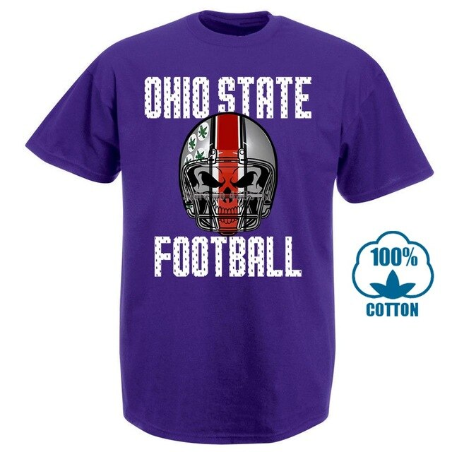 Ohio State Footballer Skull Shirt T Shirt Fan Free Shipping Scarlet Grey Black Summer Short Sleeves New Fashion T Shirt 031185