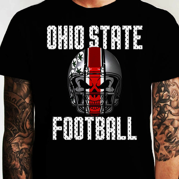 Ohio State Football Skull Shirt T-Shirt Fan FREE SHIPPING Scarlet Grey Black Red