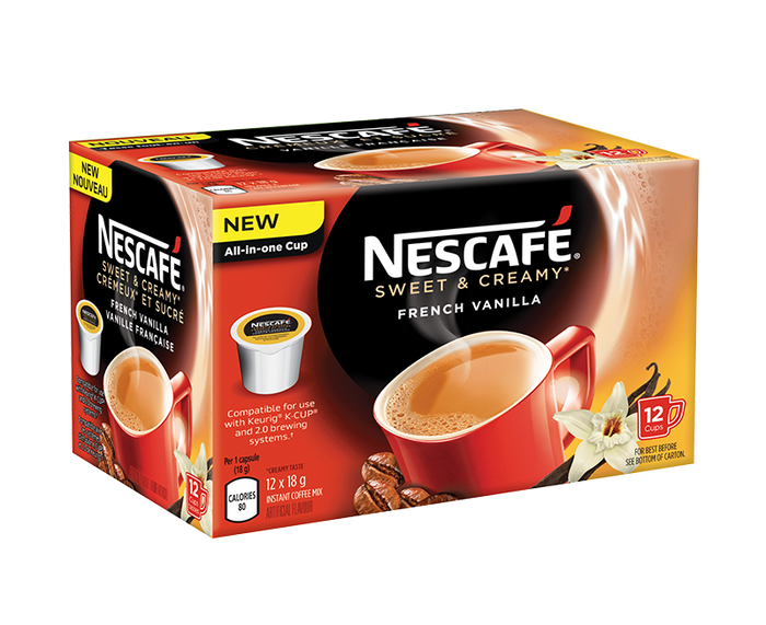 NESCAFÉ® Sweet & Creamy French Vanilla Coffee Pods - Keurig® K-CUP® Compatible (12 cups)