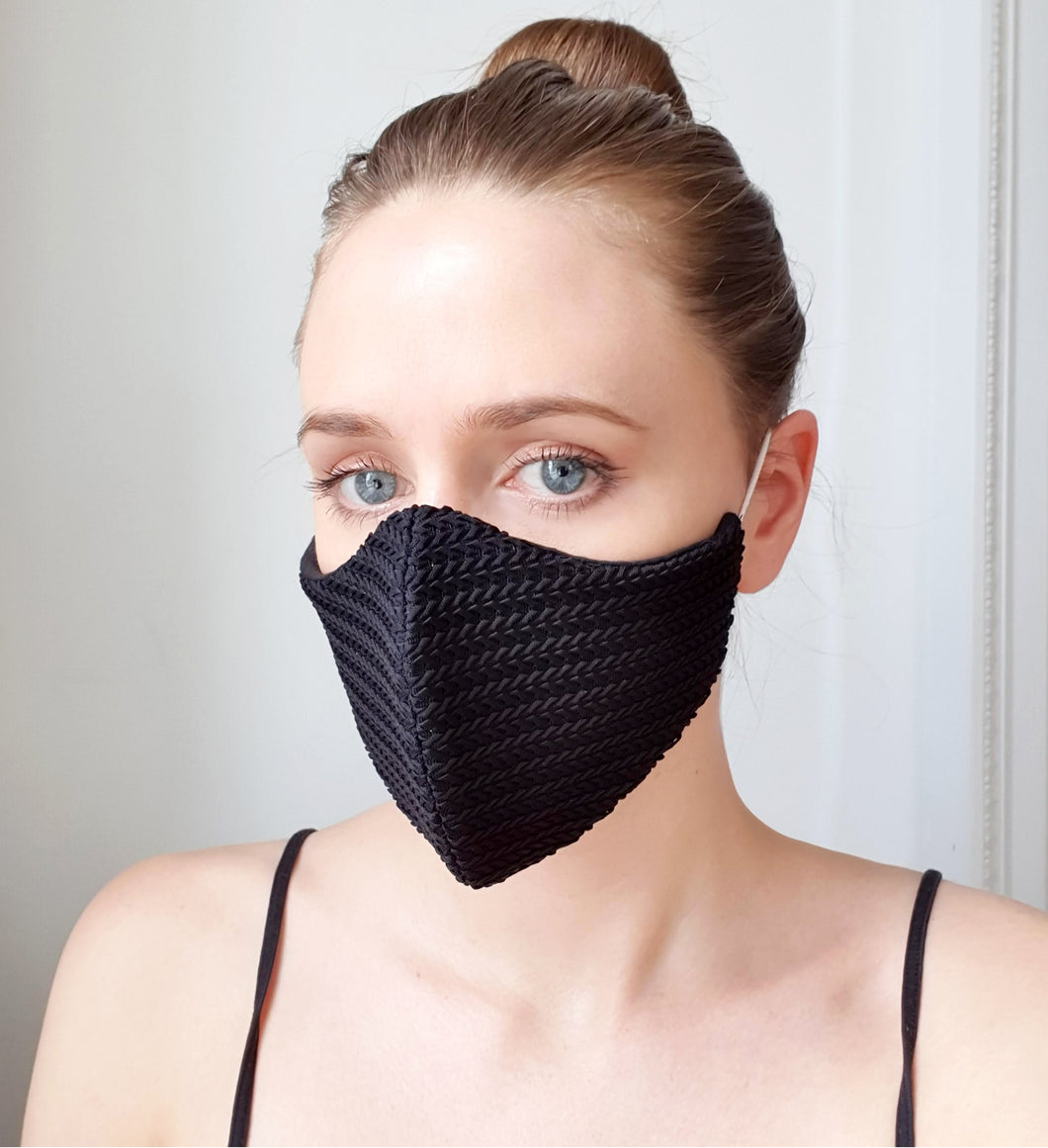 Black Knitted Lace Face Mask