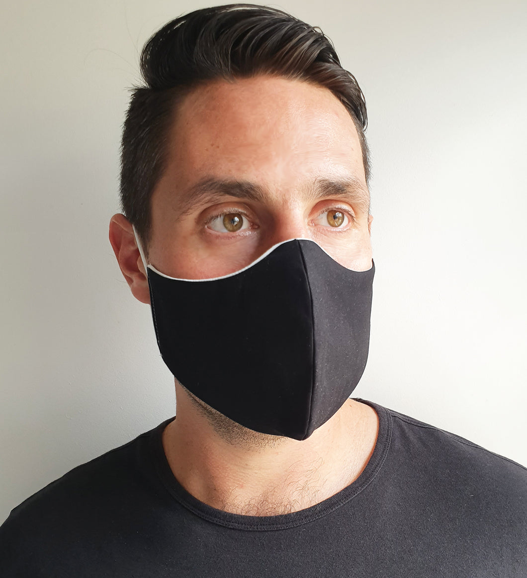 Plain Black Face Mask/ Male