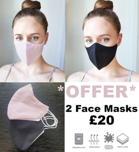 *OFFER* 1 Baby pink and 1 Plain Black Face Mask