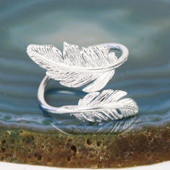 Silver Bird Feather Ring