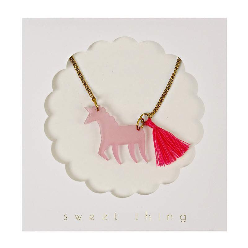 Pink Acrylic Unicorn Necklace