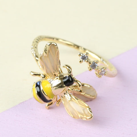 Gold Bumble Bee Adjustable Ring | Animal Jewellery