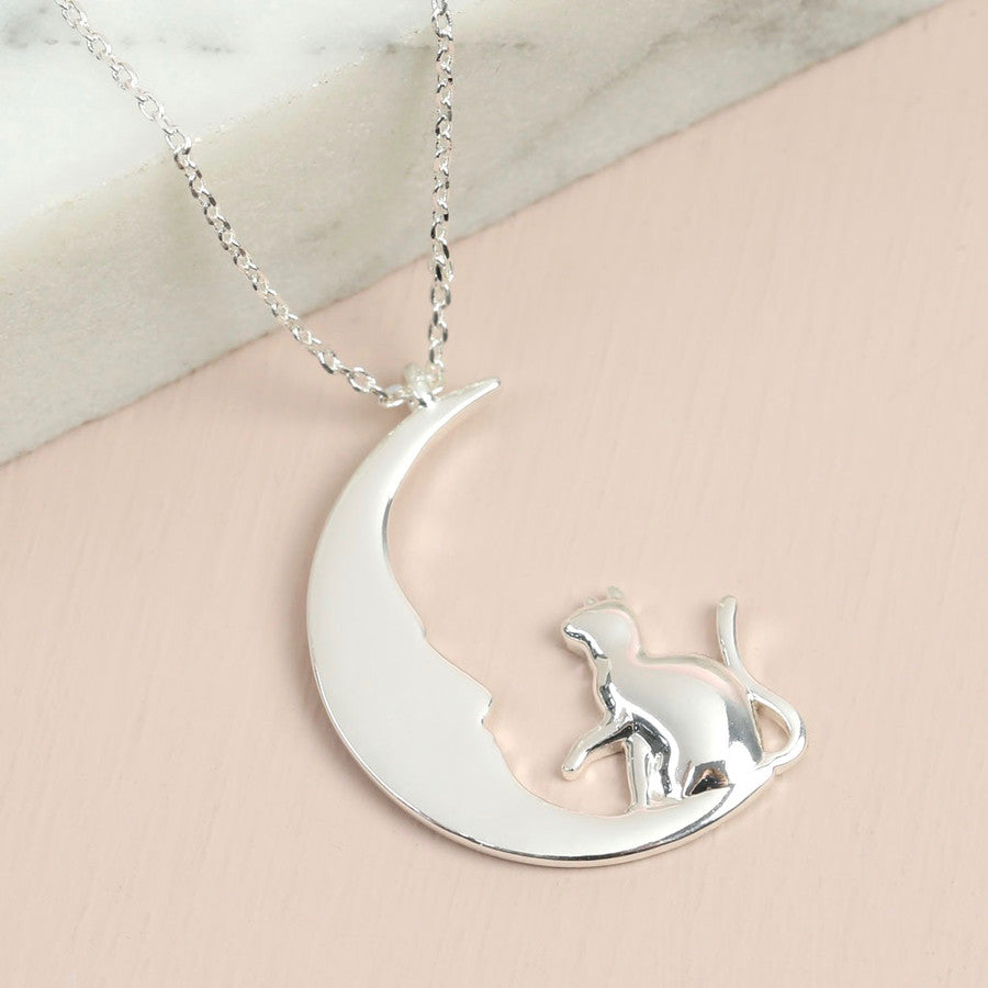 Silver Cat & Moon Long Chain Necklace | Animal Jewellery