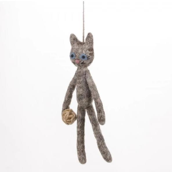 Cat with Yarn Christmas Decoration | Felt Animal Hanging Ornament