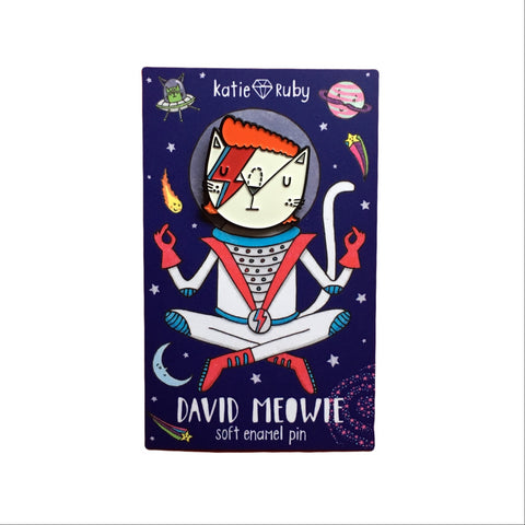 David Meowie in Space Enamel Pin