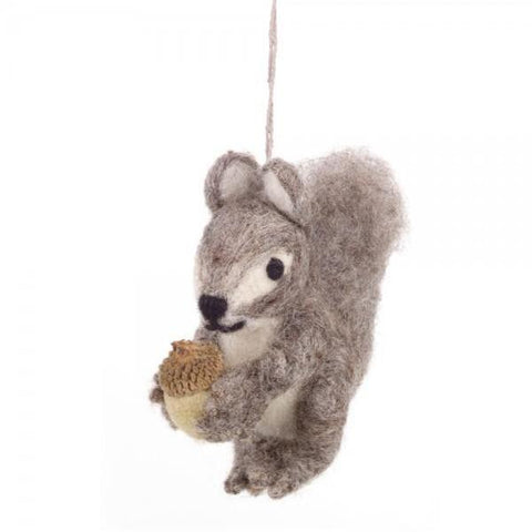 Fair Trade Grey Squirrel Tree Decoration | Christmas Home Decor