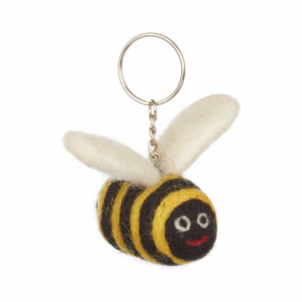 Fair Trade Bumble Bee Keyring | Animal Keyrings - giftsforanimallovers.co.uk