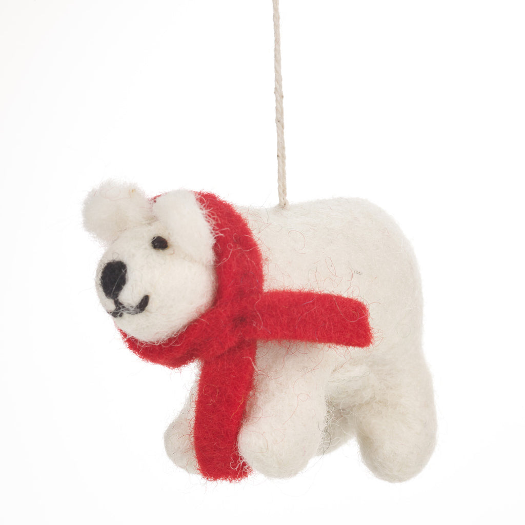 Fair Trade Cosy Polar Bear Christmas Tree Decoration | Gifts for Animal Lovers