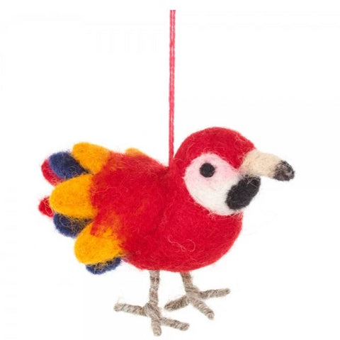 Felt Parrot Christmas Decoration | Unique Hanging Ornaments