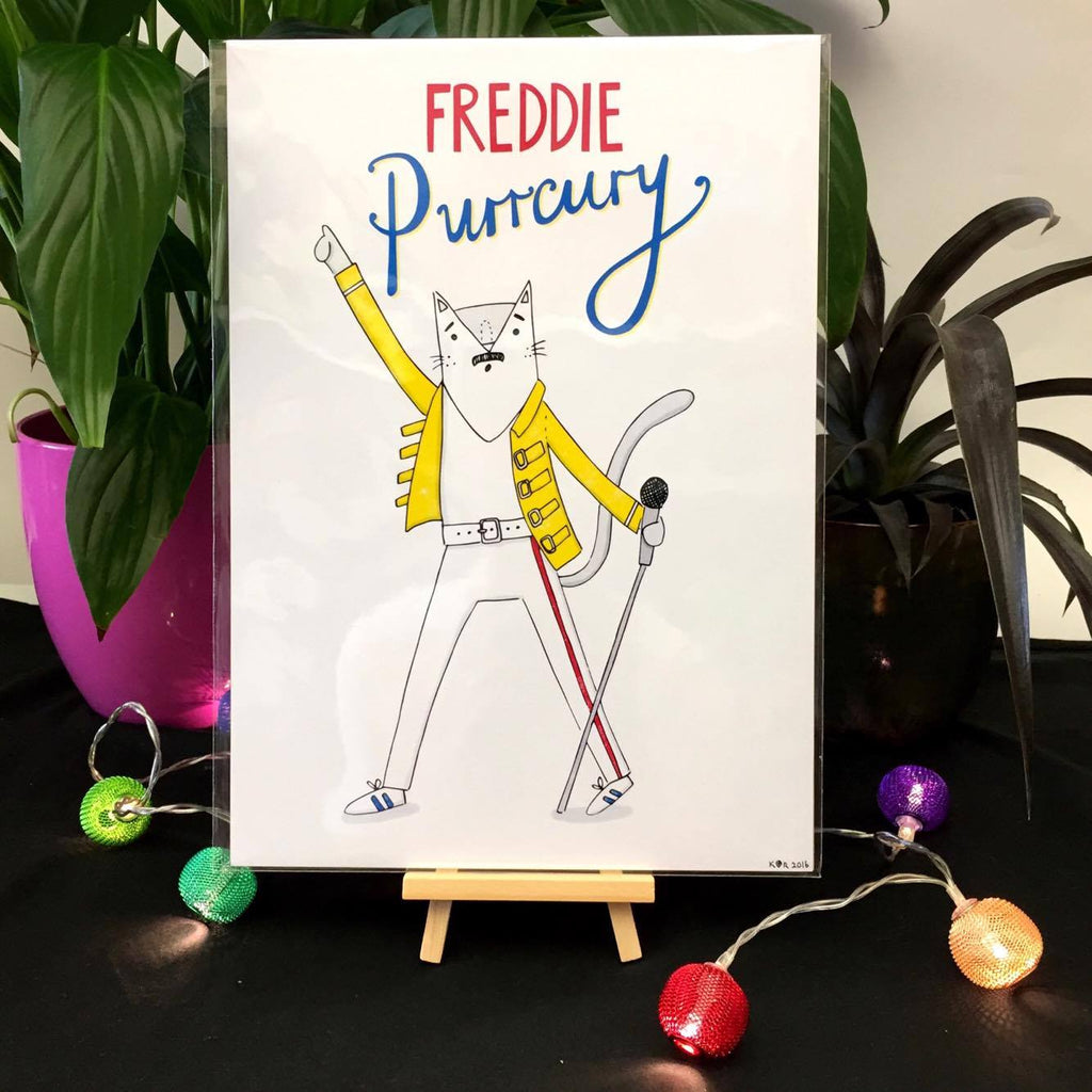 Freddie Purrcury Print | Gifts for Animal Lovers