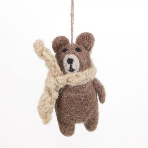 Fair Trade Winter Bear Decoration | Animal Christmas Tree Decorations