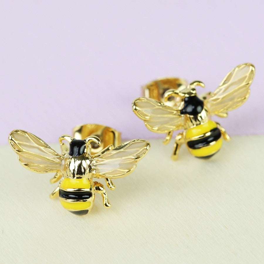 Bumble Bee Gold Stud Earrings | Animal Jewellery