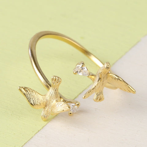 Gold Double Swallow Adjustable Ring | Animal Jewellery