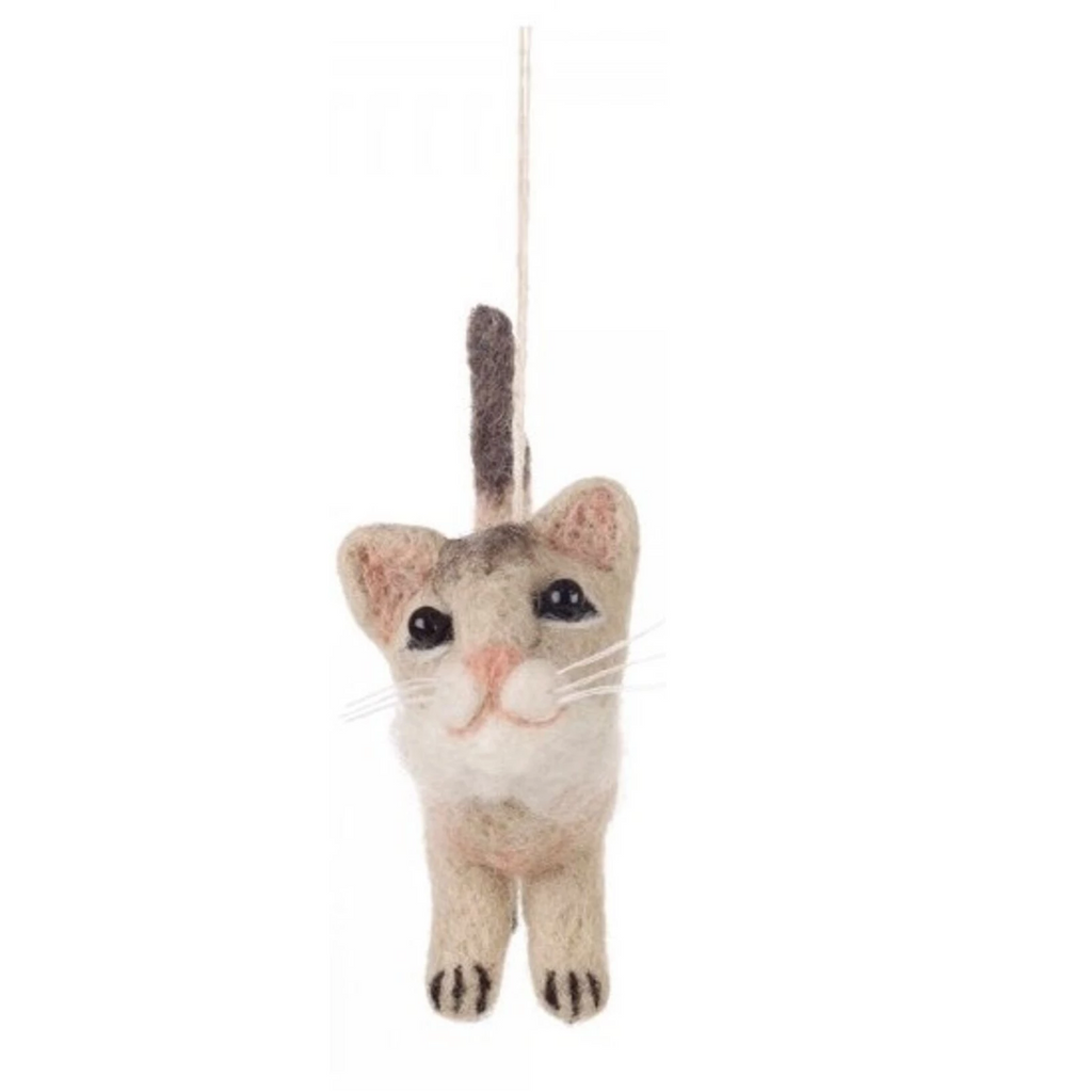 Grey Cat Felt Decoration | Animal Christmas Tree Ornaments